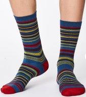 blauwe bamboe streepjes sokken