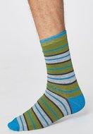 Bamboe-rugby-stripe-herensokken-olive-green